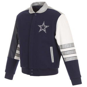 Dallas Cowboys Wool and Leather Classic Jacket - Navy/Gray - JH Design