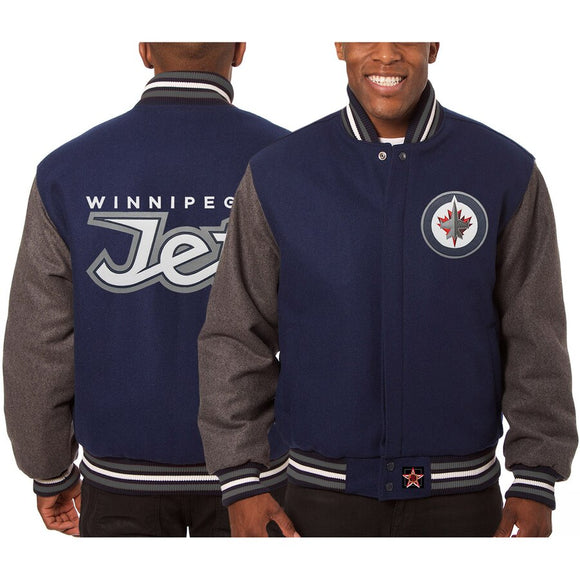 Winnipeg Jets Embroidered All Wool Two-Tone Jacket - Navy/Gray - JH Design