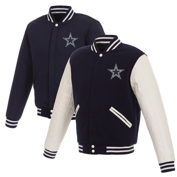 Dallas Cowboys Reversible Fleece Jacket with Faux Leather Sleeves - Navy/White - JH Design