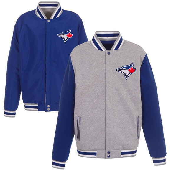 Toronto Blue Jays JH Design Gray Embroidered Reversible Full Snap Fleece Jacket - JH Design