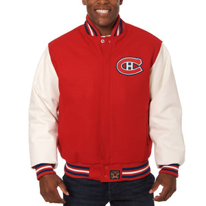 Montreal Canadiens Two-Tone Wool and Leather Jacket - Red - JH Design