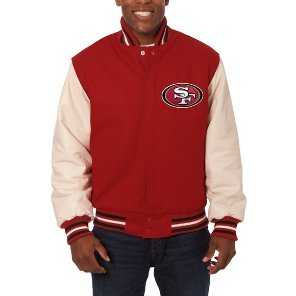 San Francisco 49ers JH Design Wool & Leather Full-Snap Jacket - Scarlet/Cream - JH Design