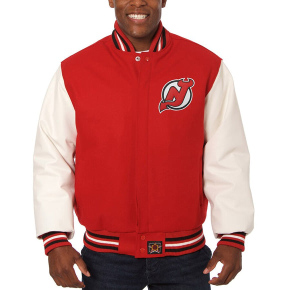 New Jersey Devils Two-Tone Wool and Leather Jacket - Red - JH Design