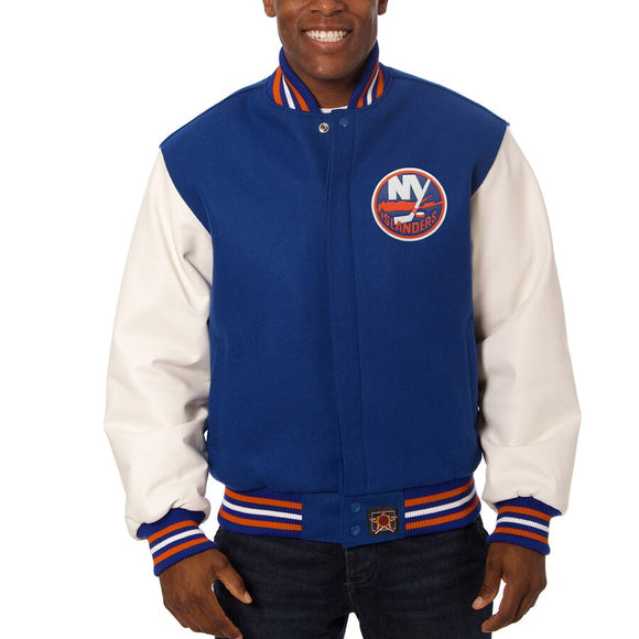 New York Islanders Two-Tone Wool and Leather Jacket - Royal - JH Design
