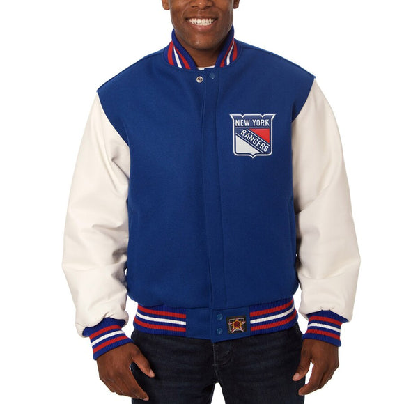 New York Rangers Two-Tone Wool and Leather Jacket - Royal - JH Design