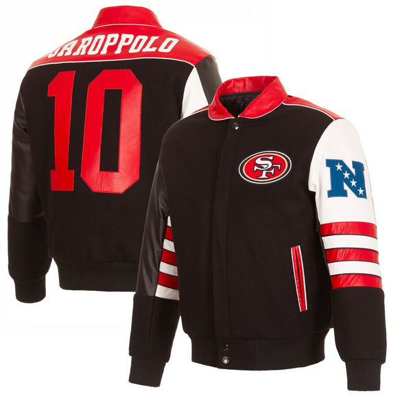 San Francisco 49ers Jimmy Garoppolo JH Design Wool & Leather - Black - JH Design