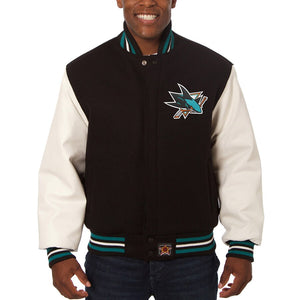 San Jose Sharks Two-Tone Wool and Leather Jacket - Black - JH Design