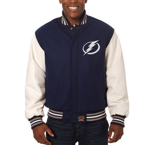 Tampa Bay Lightning Two-Tone Wool and Leather Jacket - Navy - JH Design