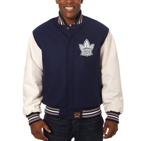 Toronto Maple Leafs Two-Tone Wool and Leather Jacket - Alternate Logo - Navy - JH Design