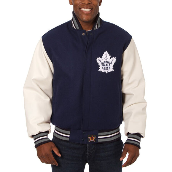 Toronto Maple Leafs Two-Tone Wool and Leather Jacket - Navy - JH Design