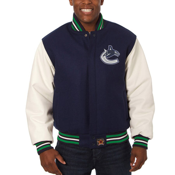 Vancouver Canucks Two-Tone Wool and Leather Jacket - Navy - JH Design