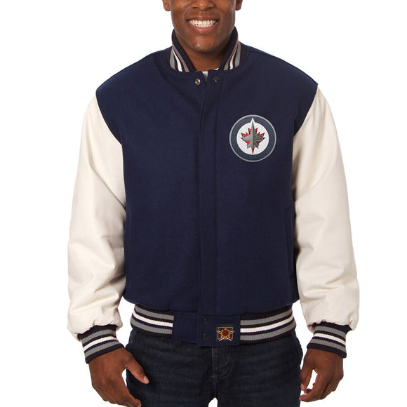 Winnipeg Jets Two-Tone Wool and Leather Jacket - Navy - JH Design