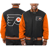 Philadelphia Flyers Embroidered All Wool Two-Tone Jacket - Black/Orange - JH Design