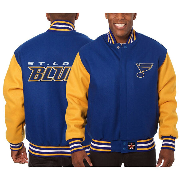 St. Louis Blues Embroidered All Wool Two-Tone Jacket - Blue/Gold - JH Design