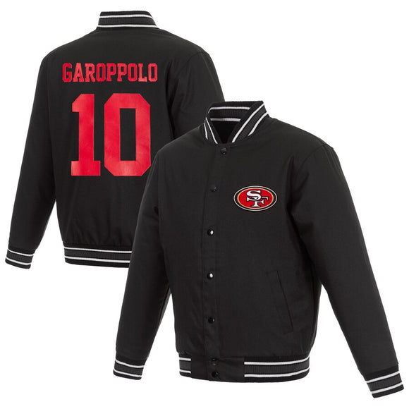 San Francisco 49ers Jimmy Garoppolo JH Design Poly Twill Full-Snap Jacket - Black - JH Design