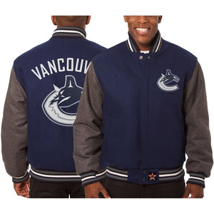 Vancouver Canucks Embroidered All Wool Two-Tone Jacket - Navy/Gray - JH Design