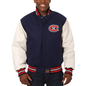 Montreal Canadiens Two-Tone Wool and Leather Jacket - Navy - JH Design