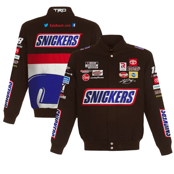 2021 Kyle Busch Brown Snickers Full-Snap Twill Uniform Jacket - Limited Edition - J.H. Sports Jackets