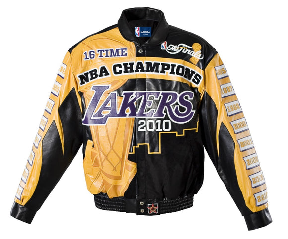 2010 Los Angeles Lakers 16 Time Champions Full Lambskin Leather Jacket - JH Design