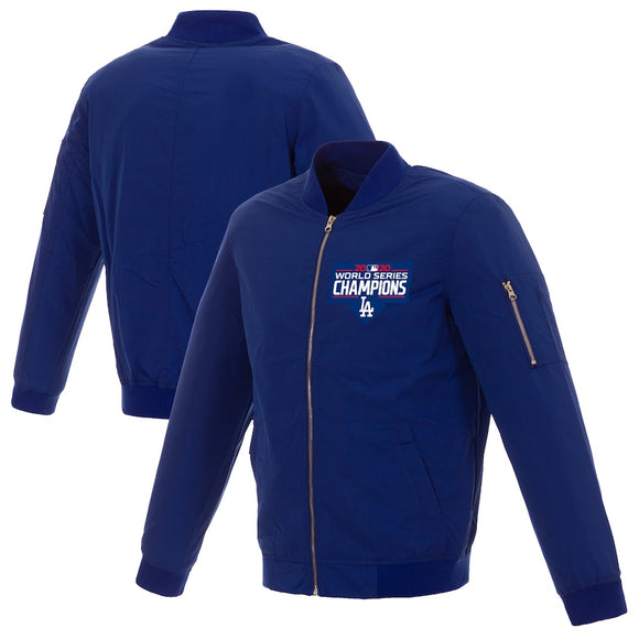 Los Angeles Dodgers JH Design 2020 World Series Champions Nylon Full-Zip Bomber Jacket - Royal - JH Design