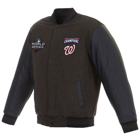 Washington Nationals JH Design 2019 World Series Champions Reversible Wool & Leather Full-Snap Jacket - Charcoal/Navy