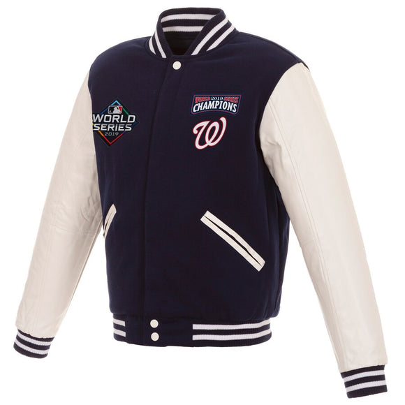 Washington Nationals JH Design 2019 World Series Champions Reversible Fleece Full-Snap Jacket with Faux Leather Sleeves - Navy