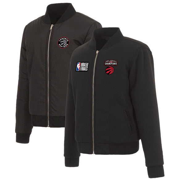 Toronto Raptors JH Design Women's 2019 NBA Finals Champions Reversible Fleece & Nylon Jacket - Black - JH Design