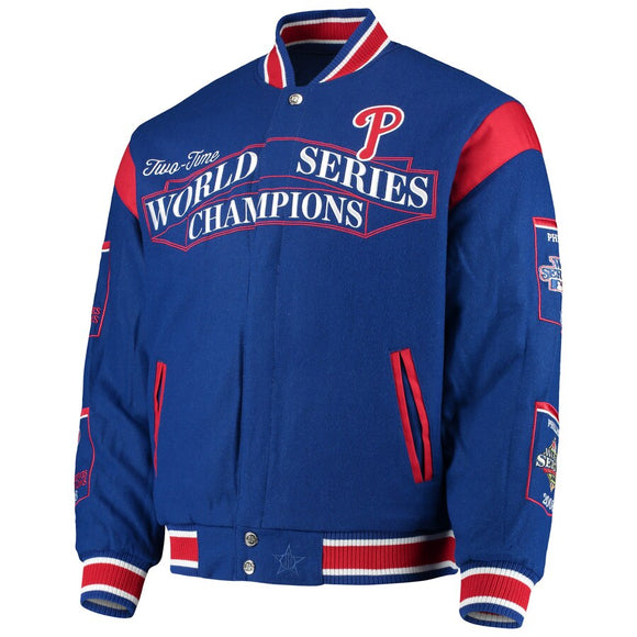 Philadelphia Phillies Reversible Wool Commemorative Jacket - Royal - JH Design