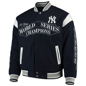 New York Yankees Reversible Wool Commemorative Jacket - Navy - JH Design