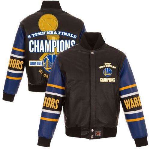 Golden State Warriors JH Design 2017 NBA Finals Champions Leather Jacket - Black
