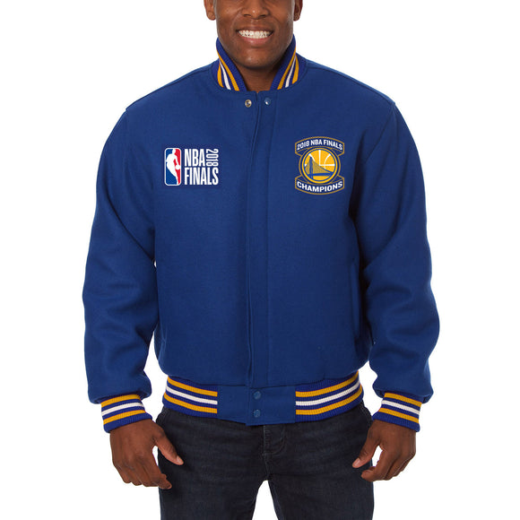 Golden State Warriors JH Design 2018 NBA Finals Champions All-Wool Full-Snap Jacket – Royal - JH Design