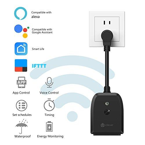 [Outdoor Wi-Fi Outlet] iClever Smart Plug Socket Wireless Remote  Control/Timer, Compatible with Alexa/Google Home Assistant, Weatherproof  for Indoor