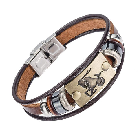 Zodiac Sign Leather Bracelet With Stainless Steel Clasp