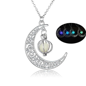 Crescent Moon Pendant & Full Moon Glow In The Dark Pendant