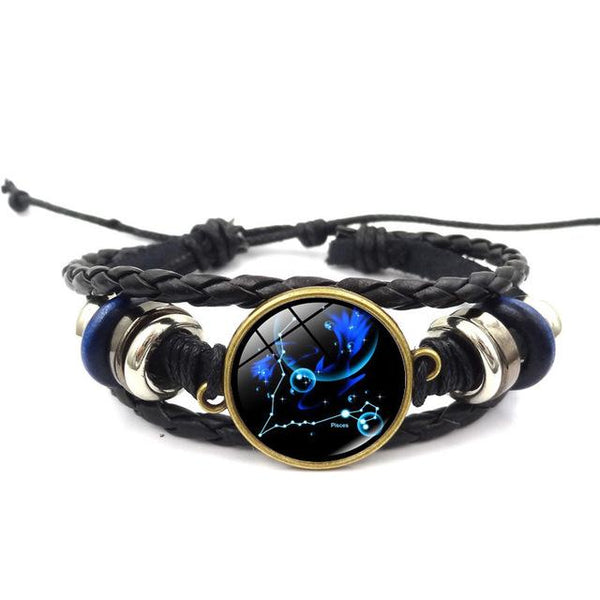 Handmade Zodiac Constellation Glass Charm Bracelet