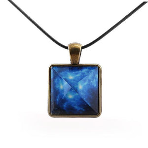 Ancient Blue Galaxy Pyramid Glow In The Dark Pendant