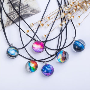 Crystal Galaxy Glass Ball Pattern & Leather Chain Pendant