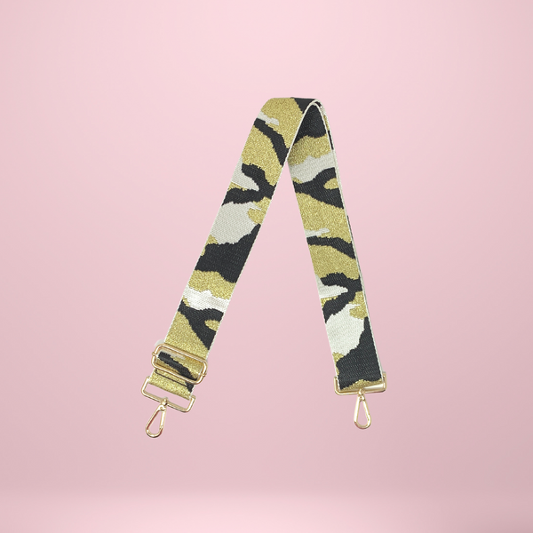 Bag Strap - Camo - White/Black/Gold