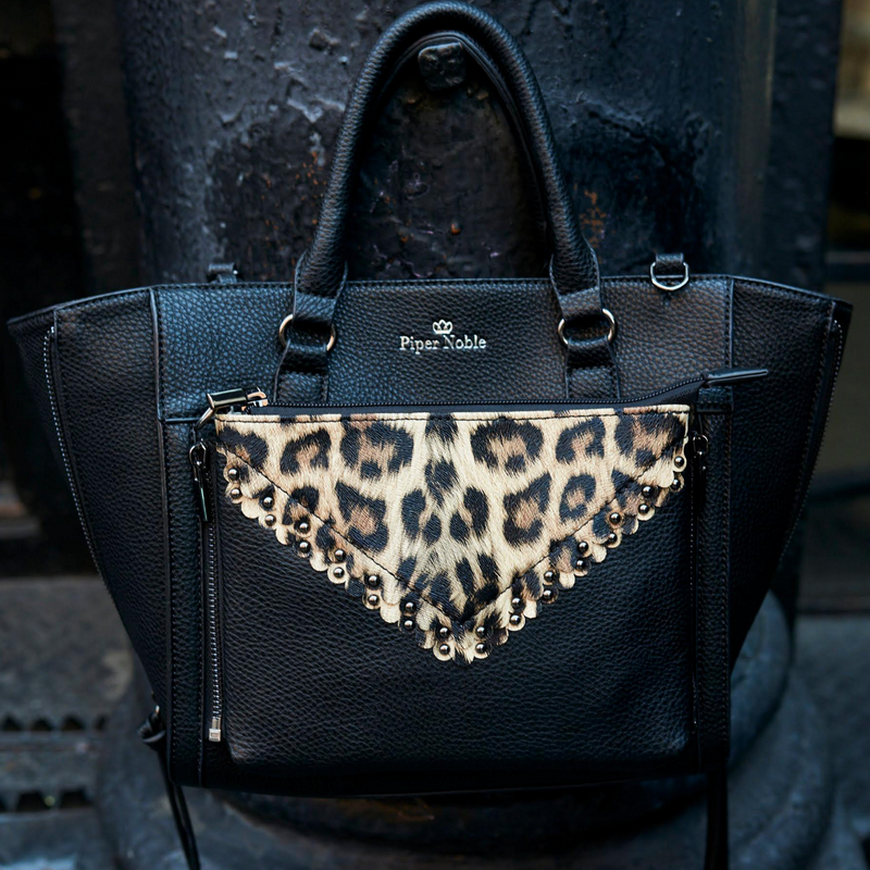 women's black vegan leather Display Satchel with zip-off leopard clutch by Piper Noble