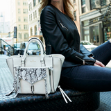 vegan leather white satchel with snake print clutch by Piper Noble
