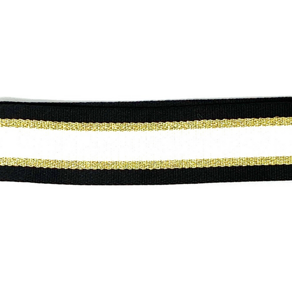 Bag Strap - Stripe - White/Black/Gold