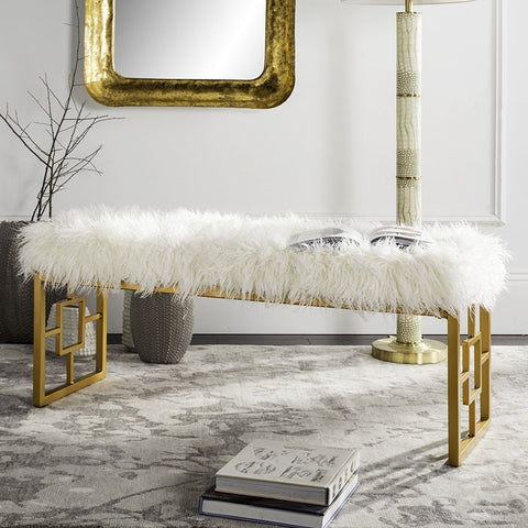 Luxe White Faux Sheepskin Bench