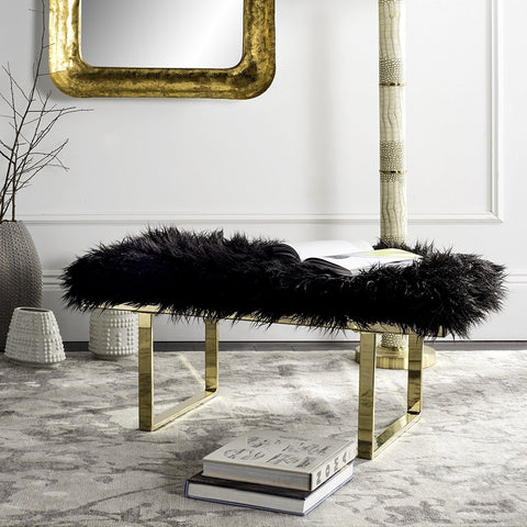 Luxe Black Faux Sheepskin Bench