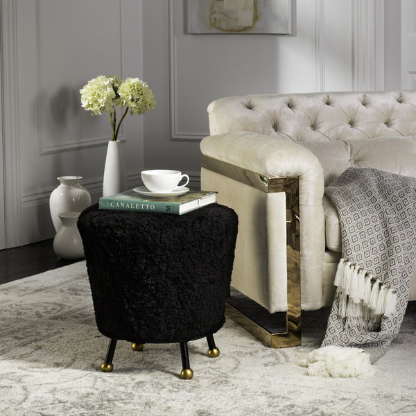 Luxe Glam Shaggy Black Ottoman