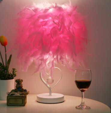 Luxe Heart of a Feather Crystal Table Lamp