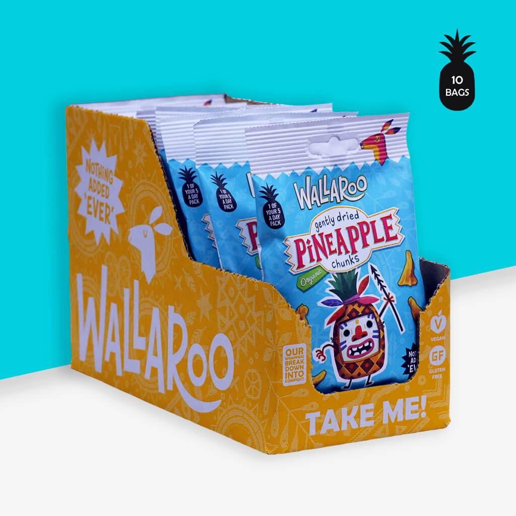 Wallaroo organic pineapple chunks box of 10 packs