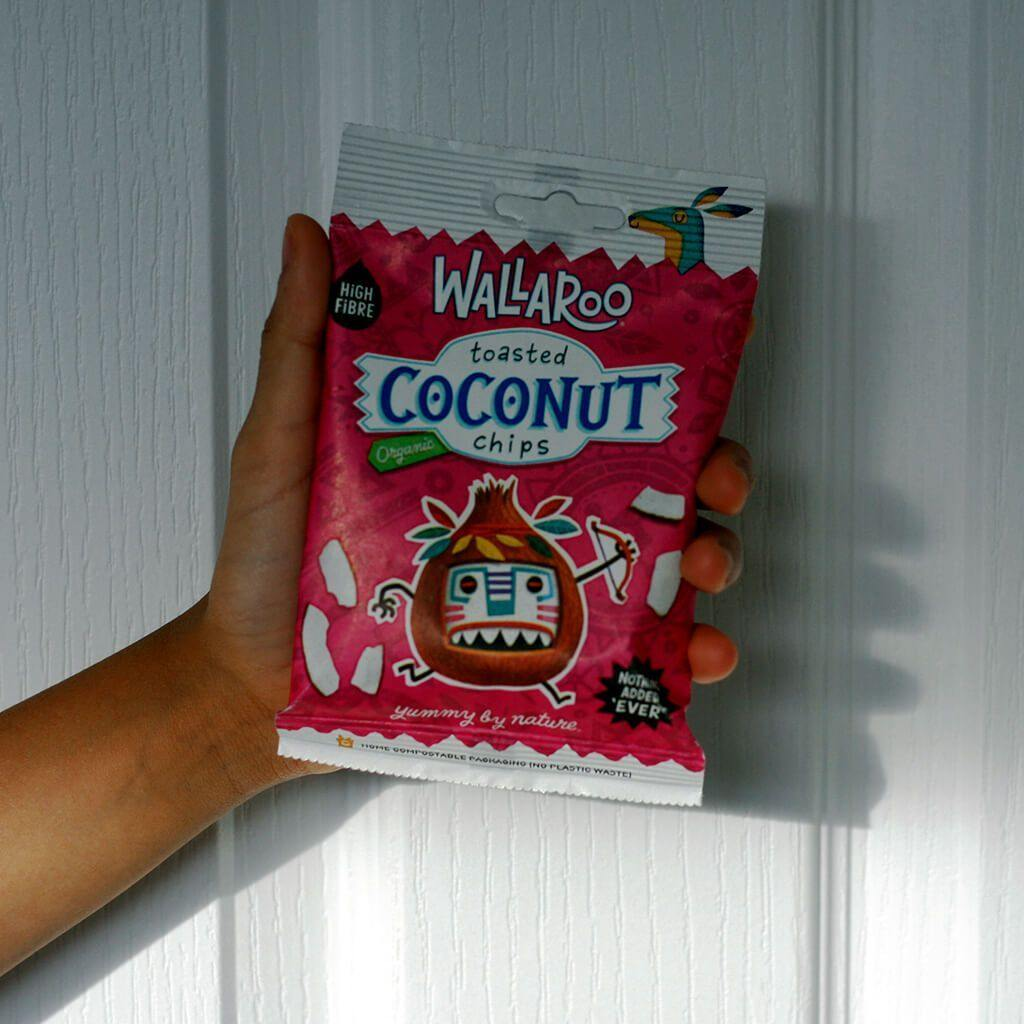 Wallaroo coconut chips pack in hand