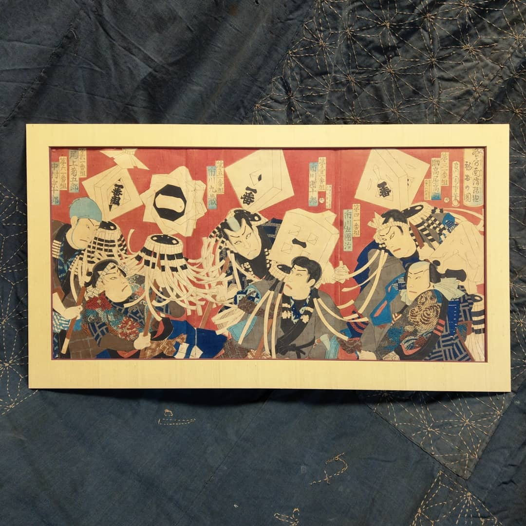 Ukiyoe - Tryptich of firefighters holding matoi