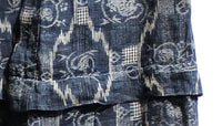 Japanese Antique (Late 19th Century) Children's Kasuri Kimono | Child's Robe | Daikoku Motif | Hand-Sewn Indigo Resist Dyed Linen | Japanese Ikat | Detail