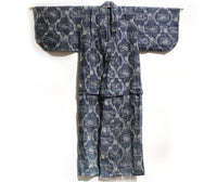 Front view | Japanese Antique (Late 19th Century) Children's Kasuri Kimono | Child's Robe | Daikoku Motif | Hand-Sewn Indigo Resist Dyed Linen | Japanese Ikat